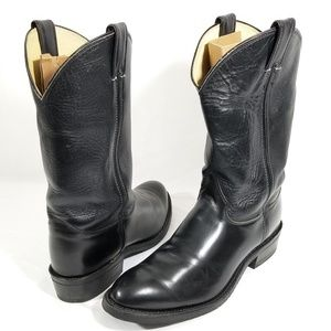 Men's Justin 10.5D Black Leather Boots Very  good